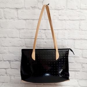 Arcadia black patent leather shoulders bag